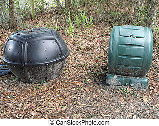 Compost Bins - Two styles of compost bins: a rolling...