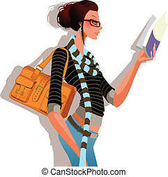side view of woman is holding a book
