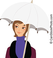 close-up of woman holding umbrella