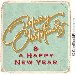 vintage Christmas card (vector) - hand-lettered vintage...