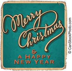 vintage Christmas card vector - hand-lettered vintage...