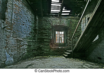 Abandoned store house hall with staircase