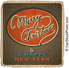 vintage Christmas card (vector) - hand-lettered vintage...