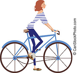 side view of woman   - side view of woman riding bicycle