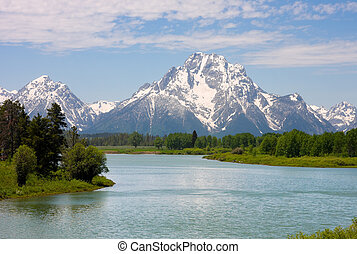 Grand Teton National Park - Mt. Moran at Oxbow Bend in the...
