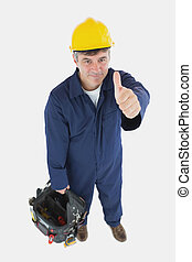 Technician with tool bag gesturing thumbs up - Portrait of...