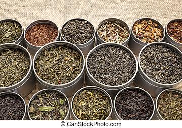 loose leaf tea background - samples of loose leaf green,...