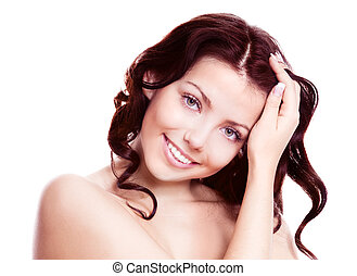 beautiful brunette woman - portrait of a young beautiful...