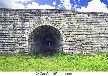 Protective Wall of Old Ladoga Fortress, Ancient Russian...