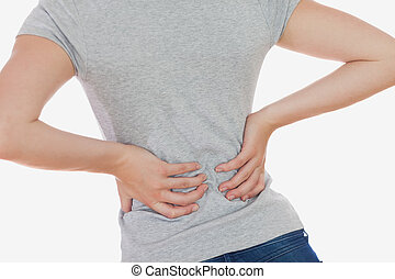 Woman suffering from backpain against white background
