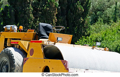 steamroller on a sunny day