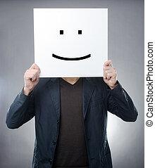 hombre, atrás, Smiley, símbolo