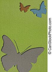 Butterflies paper art background