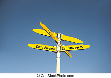 Management sign - Signpost with management terms and two...