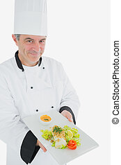 Chef offering fresh prepared meal - Portrait of male chef...