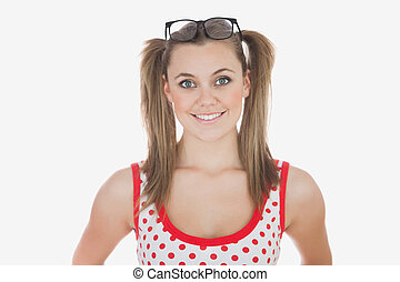 Young woman with long ponytails - Portrait of happy young...