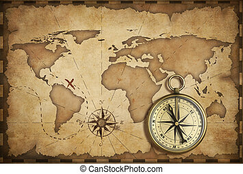 aged brass antique nautical compass and old map with track...