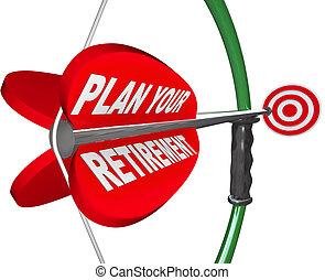 plan, ton, retraite, arc, flèche, cible, financier,...