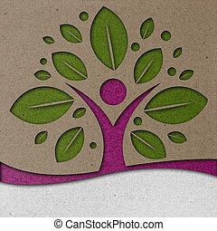Human Tree Paper Art - Conceptual paper art with a woman...
