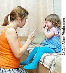 Woman scolds crying child at home Focus on woman