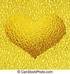 frozen golden heart with crystals