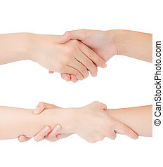 Two woman hands isolated