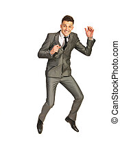 Jumping happy business man