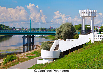 Kotorosl river in Yaroslavl - Embankment of Kotorosl river...