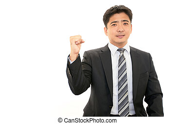 Businessman enjoying success