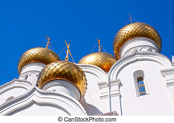 Domes of Assumption cathedral at Yaroslavl in summer. Russia