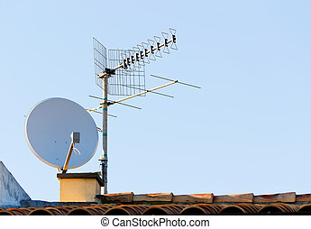 satellite antenna - satellite dish and tv antenna