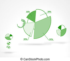 Percentages graphical representation against a white...