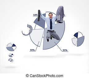 Businessman jumping against a graph - Businessman holding a...