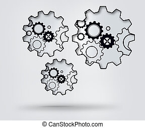 Turning cogs -  Turning cogs against a white background