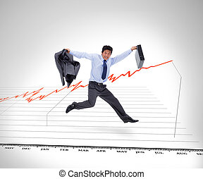 Businessman running against a curve - Businessman holding...
