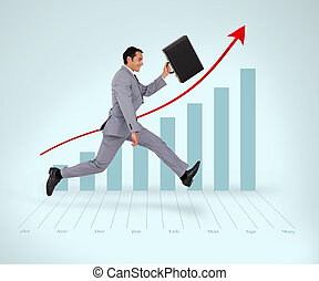 Man in suit running against a graph