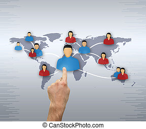 People from various continents choosing by man`s hand on...