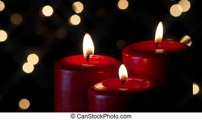 Three Red Candles and Lights