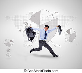 Businessman jumping against a graph - Businessman in suit...