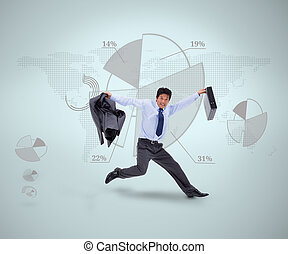 Businessman in suit jumping against grey graphical...