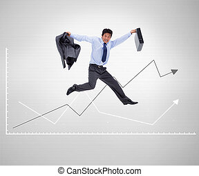 Businessman jumping against a background