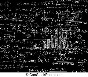 View on blackboard with computations and graphical...