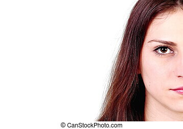Cropped image of a womans gaze on a white background