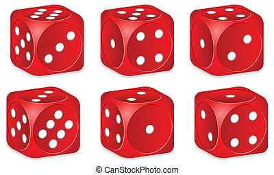 dice set - Red dice set on white background. Vector...