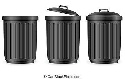 black trash cans - Trash can set on white background. Vector...