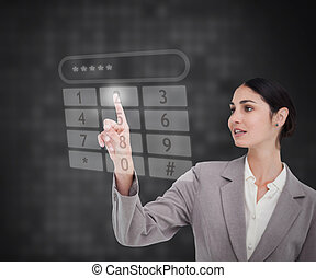 Businesswoman using touch screen ag - Businesswoman using...