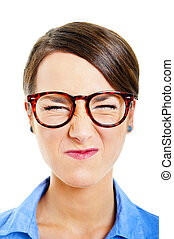 Business woman on white background with angry face