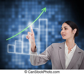 Businesswoman working with curve