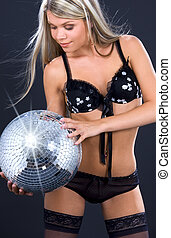 party dancer in black lingerie with disco ball - party...