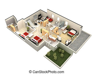 3d floor plan - computer generated floor plan of a villa